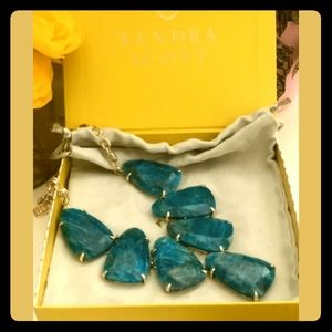🌟Kendra Scott Harlow Aqua & Silver Necklace NEW!
